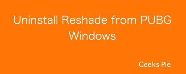 Uninstall Reshade from PUBG Windows