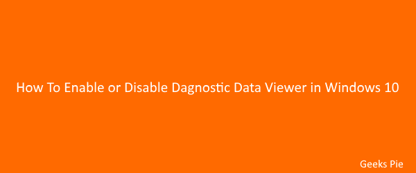 Diagnostic Data Viewer Enabeling